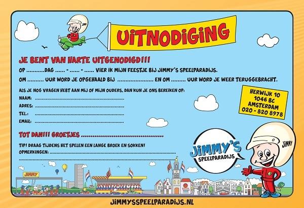 Uitnodiging voor een feestje bij Jimmy's Speelparadijs om te printen en uit te delen.