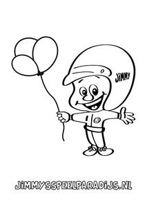 Leuke kleurplaat van Jimmy met een ballon om in te kleuren voor kinderen
