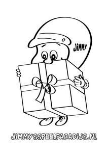 Leuke kKleurplaat van Jimmy's Speelparadijs voor kinderen met Jimmy en een cadeau