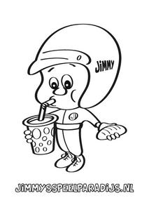 Jimmy is lekker wat aan het drinken en eten op deze leuke kleurplaat voor kinderen om zelf in te kleuren.
