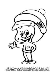 Leuke Jimmy's Speelparadijs kleurplaat van Jimmy met een muts op om in te kleuren voor kids