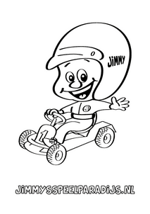 Leuke kleurplaat van Jimmy op een skelter om in te kleuren voor kinderen